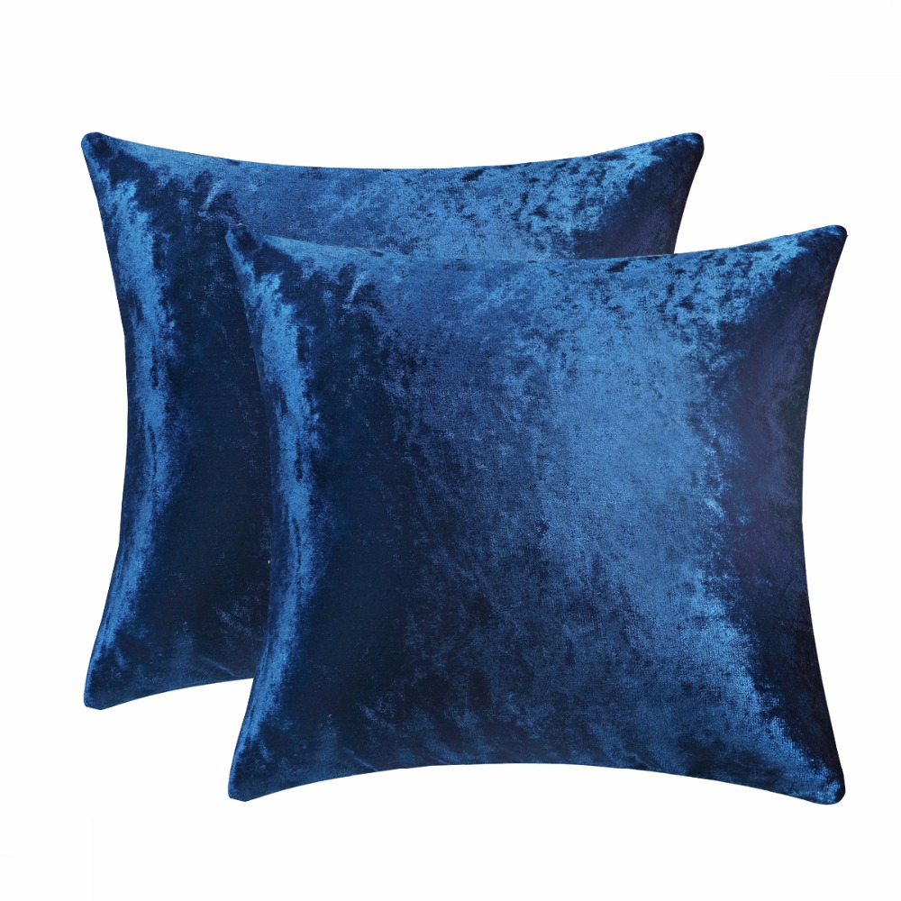 Decorative Throw Pillow Covers Case Home Decor Soft Velet Gold Cushion Cover for Sofa Bed 2 Pack for 18 x 18 Inch