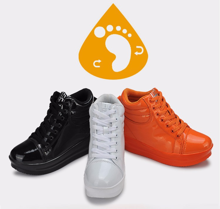 KUYUPP 2016 Fashion Hide Heel Women Casual Shoes Breathable Flat Platform Casual Women Shoes Patent Leather High Top Shoes YD105 (18)