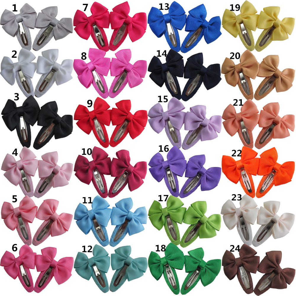 24 Pairs Snap Clips Hair Bow Baby Girls Hair Clips Barrettes Hairbows Hairgrips Headwear Hair Snap Clips Accessories Bow