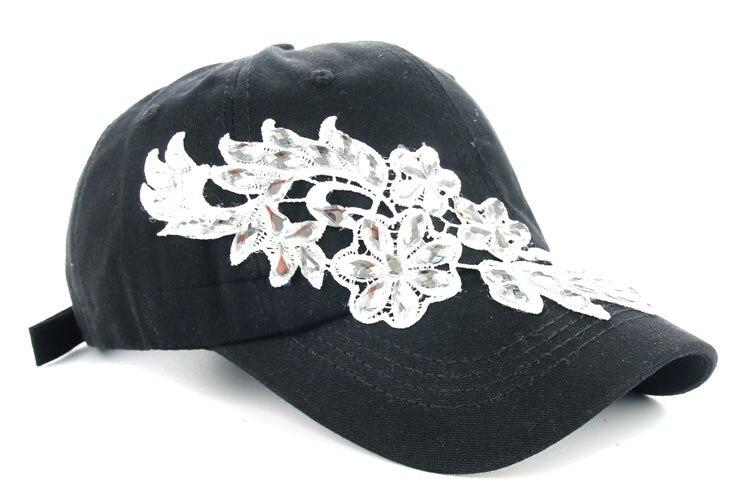 Высокое качество оптом и в розницу JoyMay шляпа Кепки Мода Досуг Стразы х/б джинсы колпачки в цветочном стиле летние Бейсбол Кепки B232 - Цвет: Black