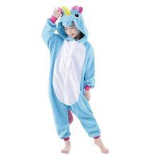 Kigurumi Unicorn Onesie Women Animal Unicornio Costume Flannel Warm Loose Soft Sleepwear Jumpsuit Kid & Adult Onepiece Overall