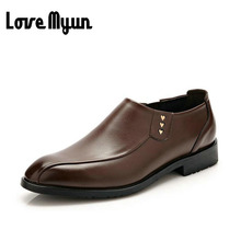 2017 brand new spring men dress Wedding shoes Breathable Genuine leather shoes casual Flats comfortable slip on shoes WA-15