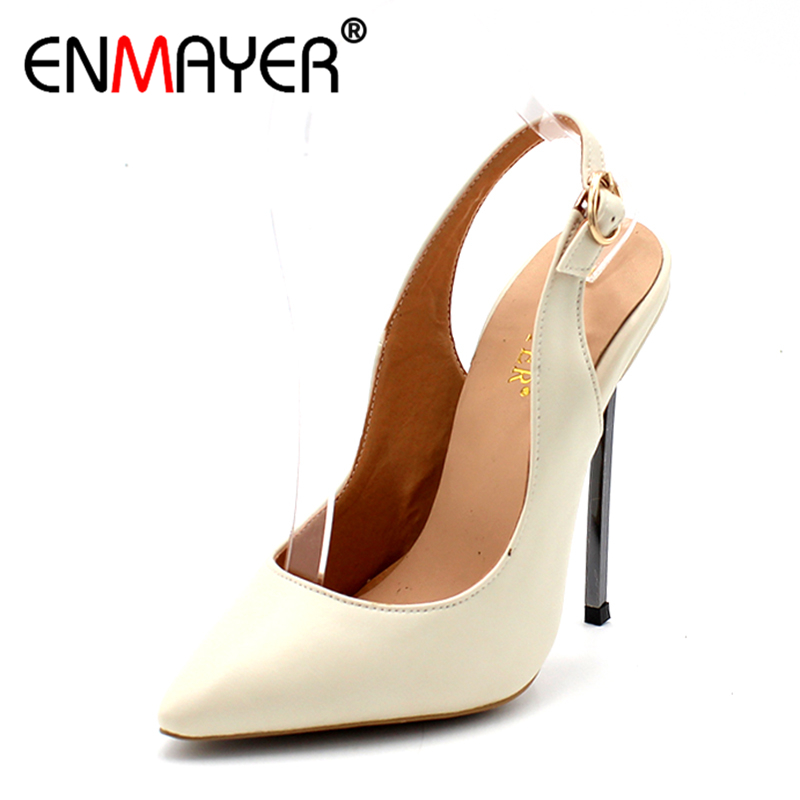 ENMAYER Hot Fashion Summer Women Shoes Slingback Extreme High Heels Pumps Nude Black Sexy Plus Size 34-43 Buckle Pointed Toe plus size 30 43 2016 fashion sexy round toe sweet colorful thin high heels hot sale woman shoes women s pumps nude