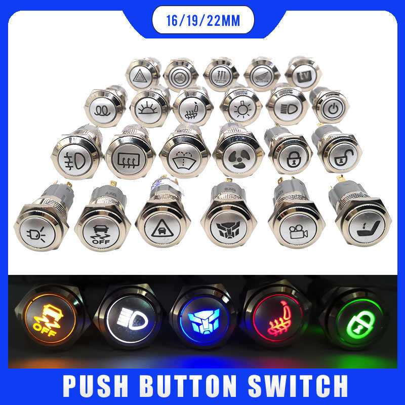 LED schalter 12v Wasserdichte Metall push button switch 16mm 19mm 22mm symbol angepasst Hinten Abtauung hohe strahl Windschutzscheibe waschen