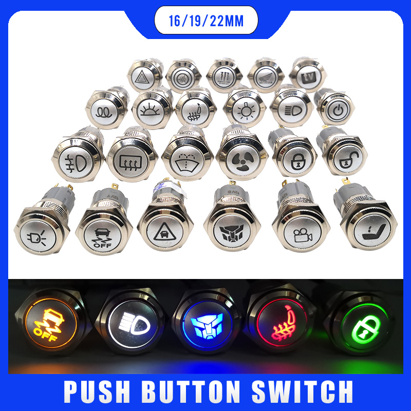 LED Switch 12v Waterproof Metal Push Button Switch 16mm 19mm 22mm  Symbol Customized Rear Defrost High Beam Windshield Washing