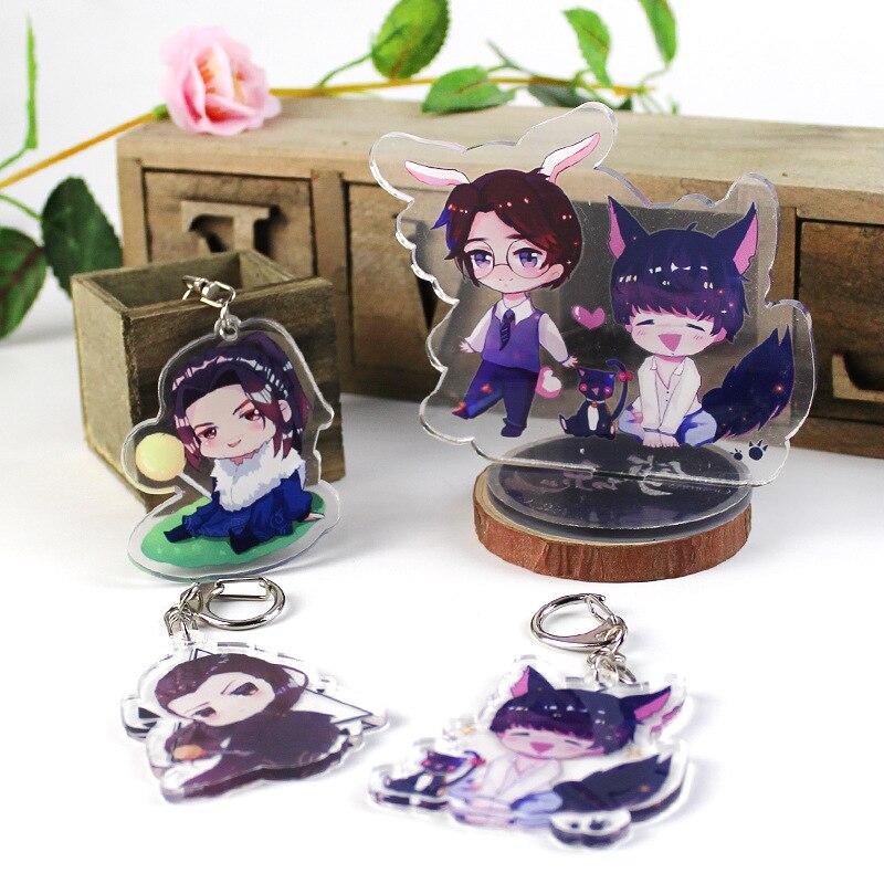 Anime Guardian Keychain Zhen Hunstewart Mark Shen Wei Cat Acrylic Car Key Holder Chain Keyring Pendant Jewelry Accessories