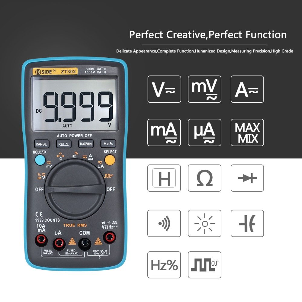 BSIDE Auto Range Digital Multimeter ZT301 ZT302 True Rms DC/DA Voltmeter Ammeter multimetro Resistance Capacitance Tester