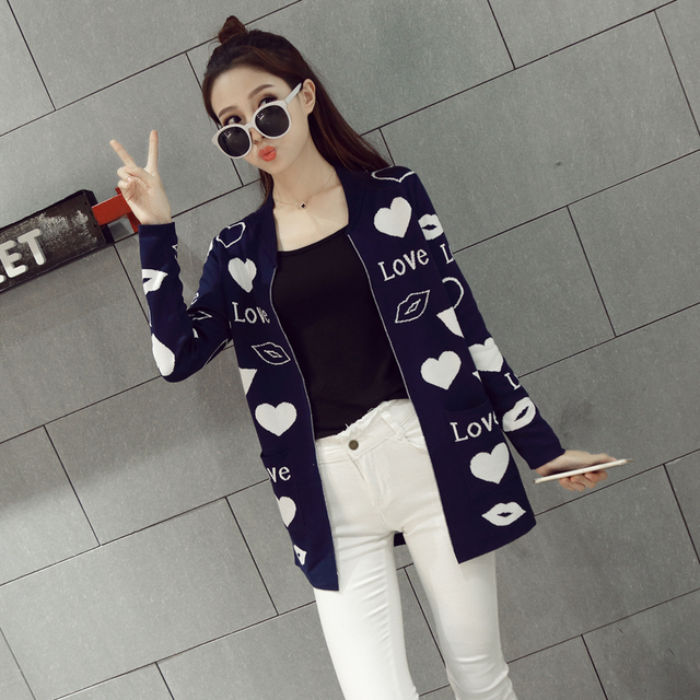 Новая Осень Любовь Шаблон Трикотажные Длинный Свитер Женщин Вскользь Корейской Моды Кардиган Молния Тянуть С Длинным Рукавом Свитера Mujer Свободный