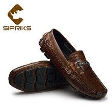 b30580e99b Sipriks Mens Topsiders Deslizamento de Couro Em Sapatos Da Moda Casual  sapatos de Condução Apartamentos Mocassins