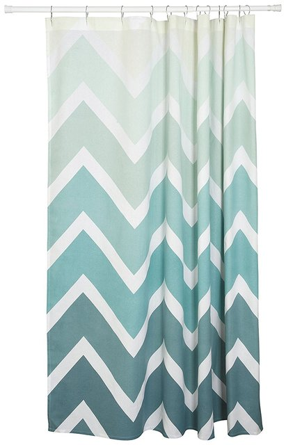 Memory Home Simple Style Shower Curtain Chevron Print Blue White Striped Waterproof Mildewproof Polyester Fabric Bath