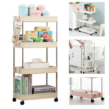 купить 2/3/4 Layer Gap Kitchen Storage Rack Movable Shelf With Wheels for Kitchen Bathroom Organizer Place Saving Storage Shelf по цене 872.49 рублей