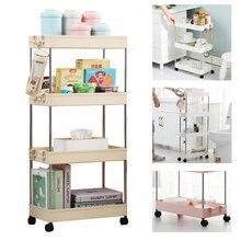 Étagère de rangement mobile avec roulettes à 2/3/4 couches, espace de rangement pour la cuisine et la salle de bains, étagère de rangement, économie de Place