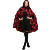 CharMma 2017 Winter Tartan Cape Coat Women Plaid Hooded Batwing Sleeve Long Cloak Overcoat Autumn Casual Womens Outerwear Coats