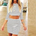 Women Sexy Celeb Bodycon Striped Bandage Crop Tops + Short Mini Skirt 2 Piece Clothing Set Girls Party Clothes