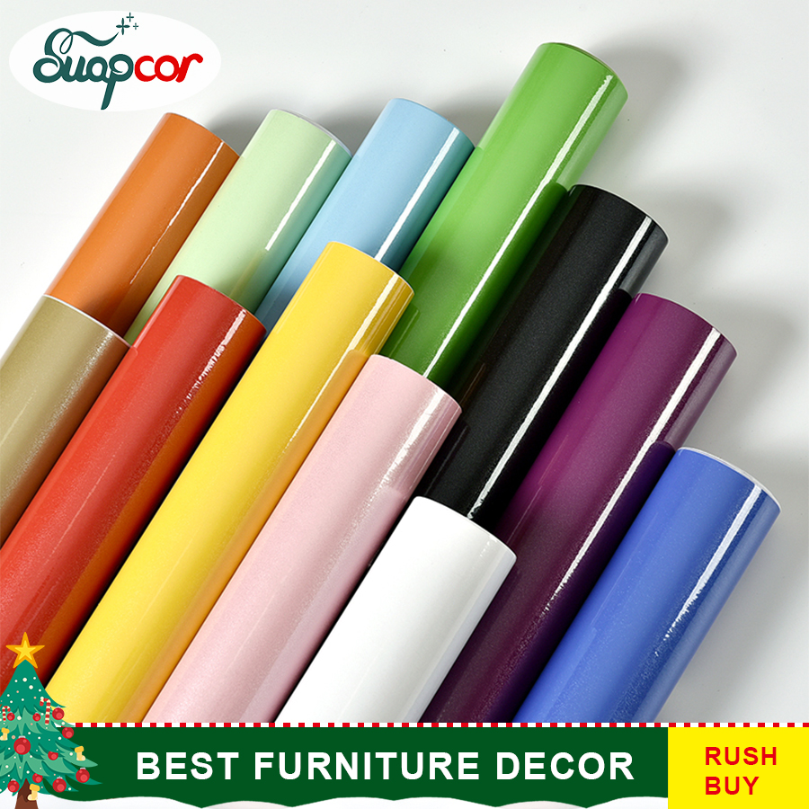 Glossy PVC Decorative Film Self adhesive Wallpaper Modern Furniture Renovation Stickers Kitchen Cabinets Waterproof Wall paper