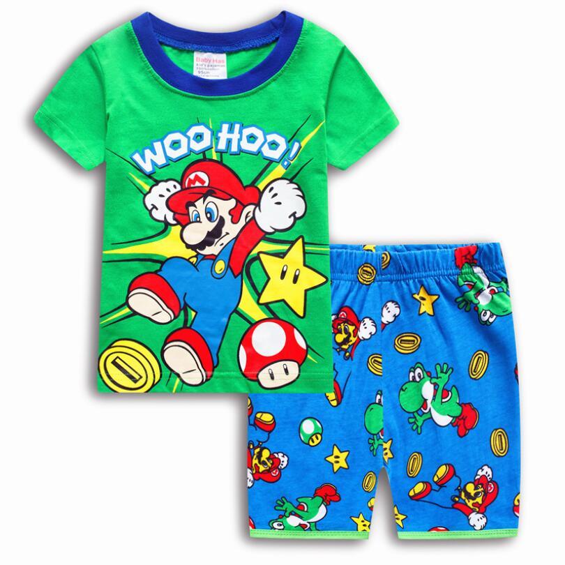 2018 New Casual Cartoon Cotton Super Mario Bros Children's   Sets   Boys T-shirts Short Pants Kids' Clothing Summer   Pajamas     Sets