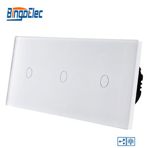 Image 1 - Bingoelec スマートトリプル 1 ギャング 2 ウェイ調光タッチスイッチ高級ガラスパネル EU 標準画面ライト壁の電気スイッチ