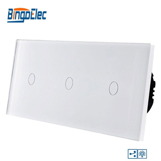 Bingoelec Smart Triple 1 GANG 2 WAY Dimmer TOUCH SWITCH Luxury Glass PANEL EU มาตรฐานหน้าจอ Light สวิทช์ไฟฟ้า
