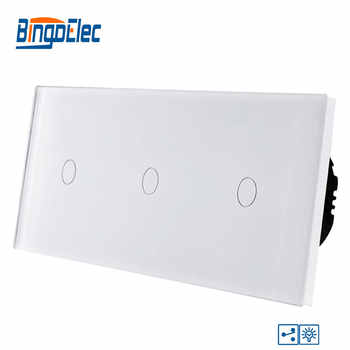 Bingoelec Smart Triple 1 Gang 2 Way Dimmer Touch Switch Luxury Glass Panel EU Standard Screen Light Wall Electrical Switch - DISCOUNT ITEM  25% OFF All Category