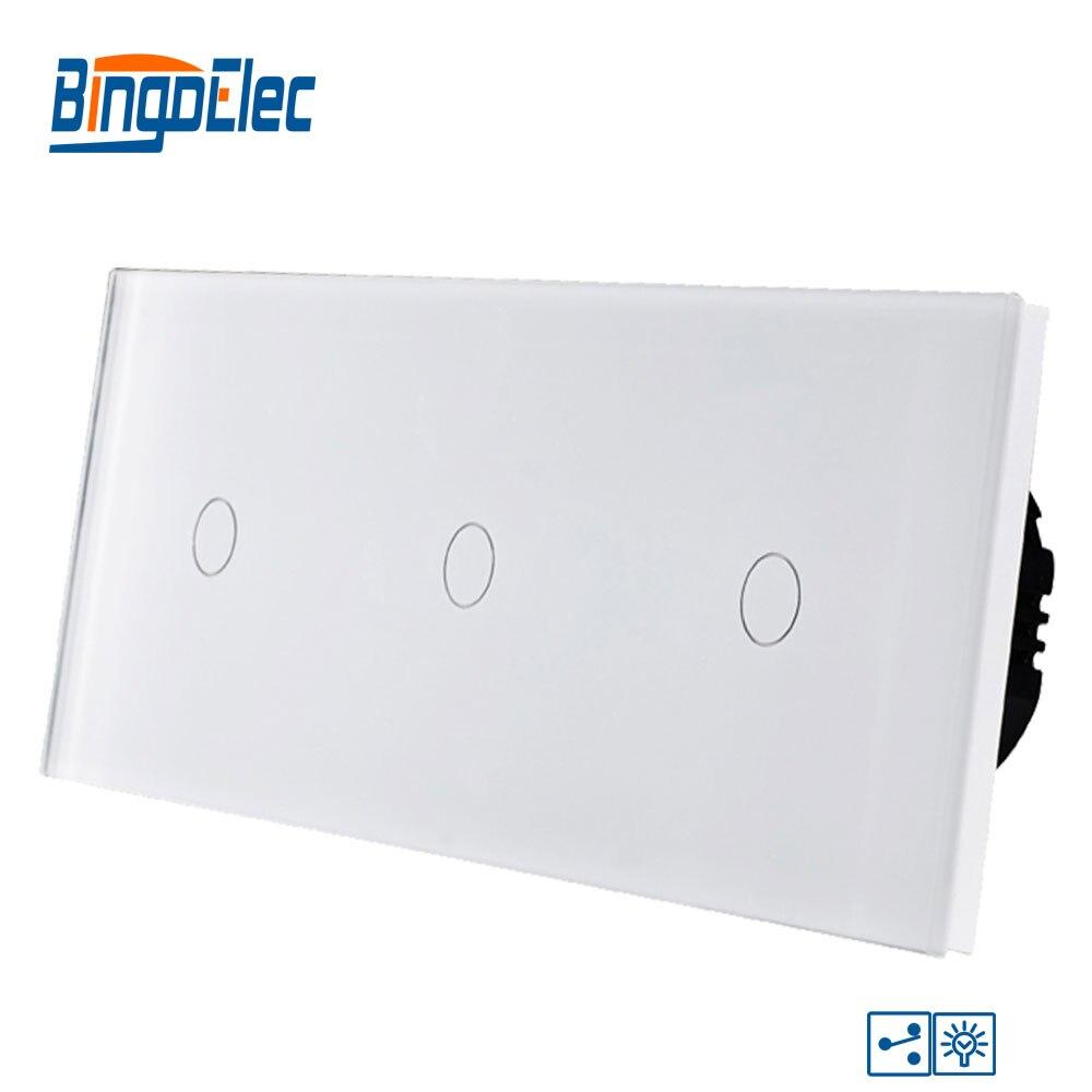 Bingoelec Smart Triple 1 Gang 2 voies gradateur tactile interrupteur panneau de verre de luxe EU Standard écran lumière mur interrupteur électrique