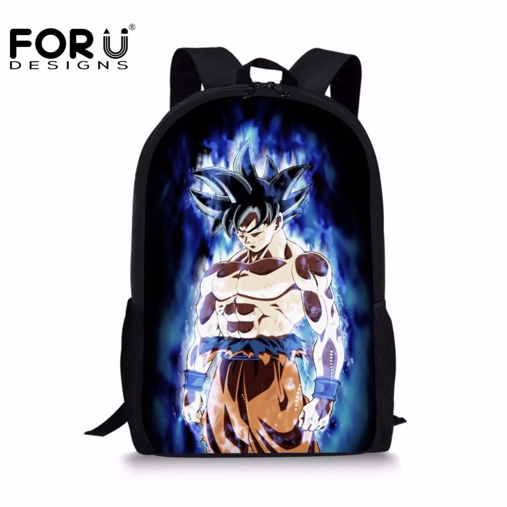 FORUDESIGNS Anime Dragon Ball Super Backpacks for Teenage Boys Cool Saiyan Sun Goku Vegeta Printing Children School Bag Rucksack