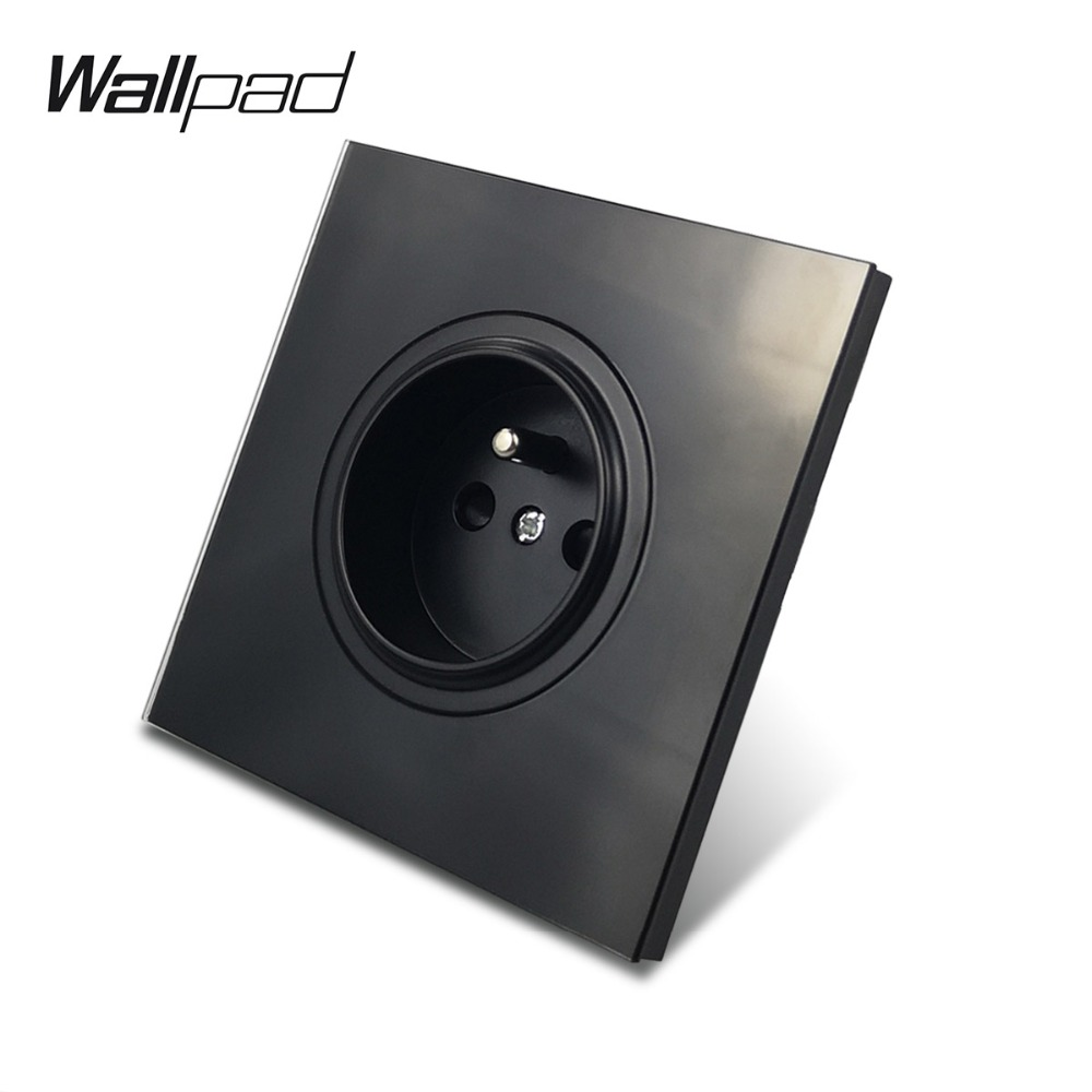 Wallpad L6 Black French Wall Socket Tempered Glass Panel Electrical Power Outlet 16A Round Design