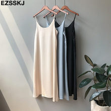 Spring summer 2019 Woman Tank Dress Casual Satin Sexy Camisole Elastic Female Home Beach Dresses v-neck camis sexy dress(China)