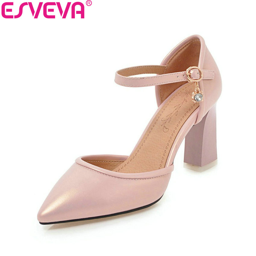 ESVEVA 2018 Women Pumps Buckle Strap Elegant Shoes Square High Heels Pointed Toe Spring Shallow Wedding Women Shoes Size 34-43 esveva 2017 ankle strap high heel women pumps square heel pointed toe shoes woman wedding shoes genuine leather pumps size 34 39