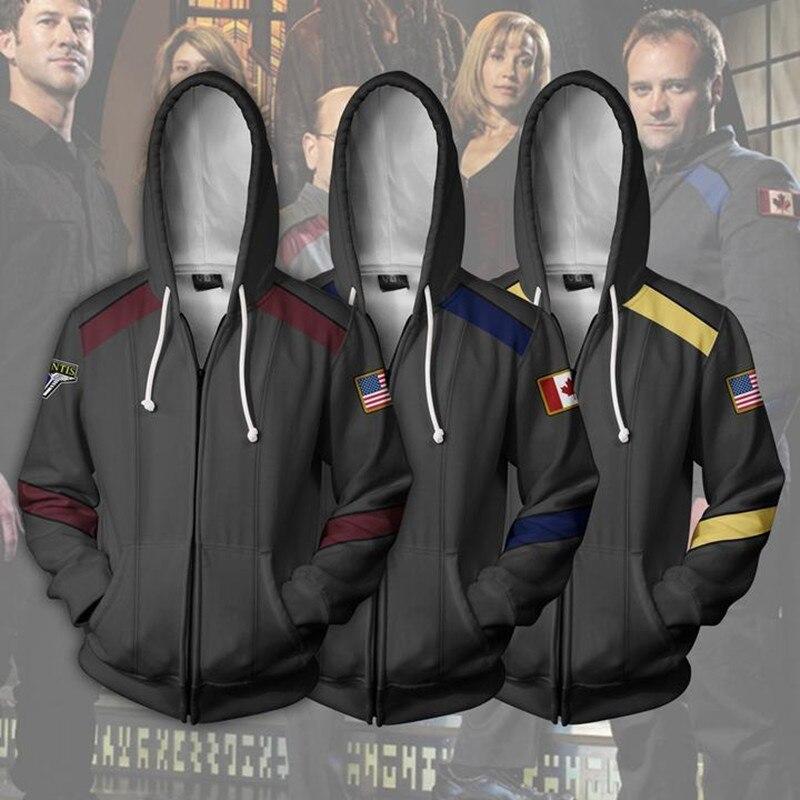 Stargate SG-1 Cosplay Costumes Sweatshirt zipper Hoodie Warrior Military uniforms Jackets tops Fashion Sweatshirts for men
