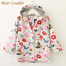 Bear Leader Girls Coats and Jackets Kids 2017 Autumn Brand Children Clothes Bird&Flowers Print Hooded Outerwear For 3-7 Years