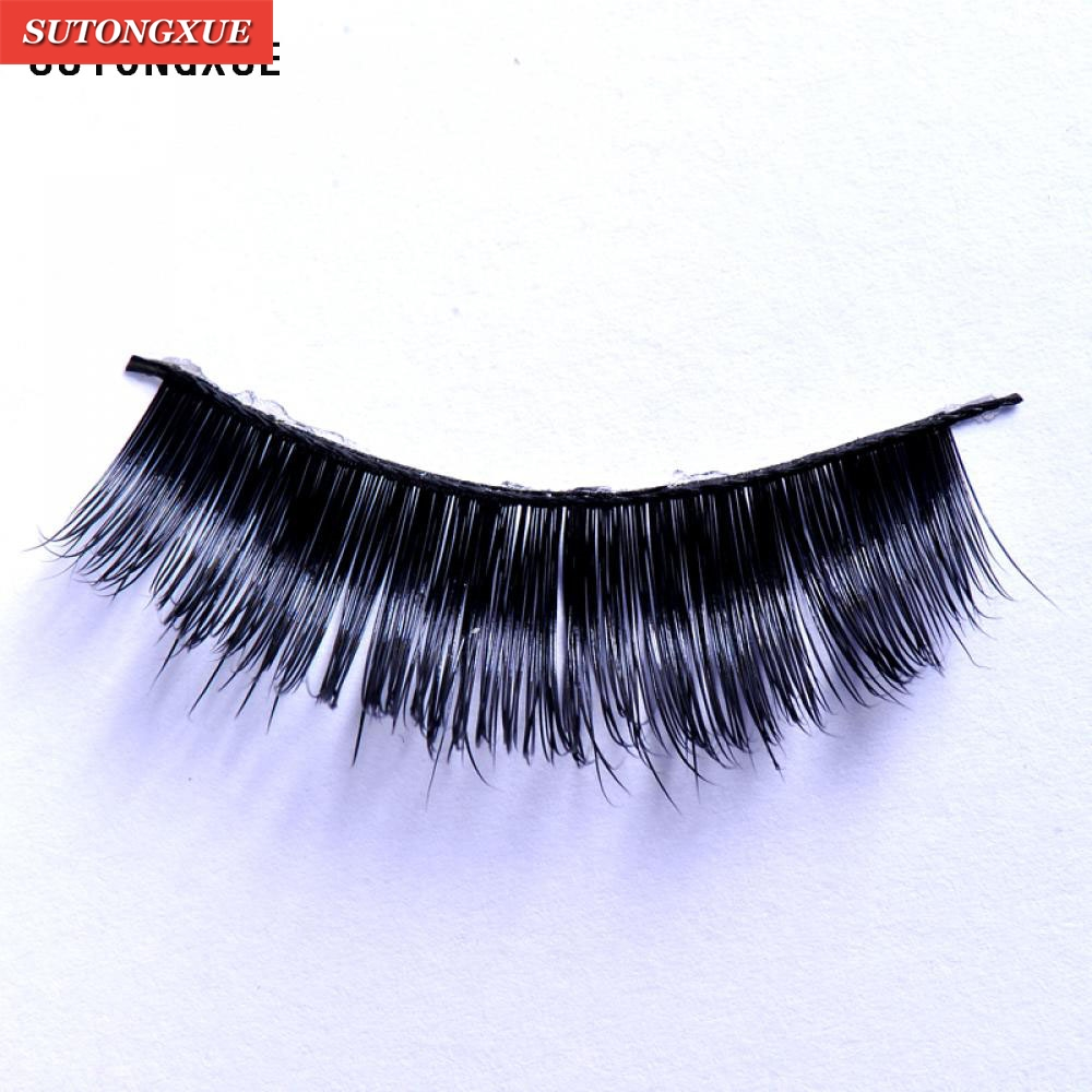 1 Pair Real Black Handmade Natural Mink Hair Long Thick Eyelash Extensions Mink Black Fake False Eyelashes Curl