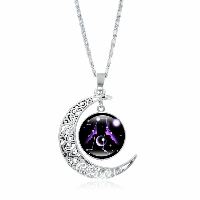 XUSHUI XJ 12 Constellation Glass Cabochon Pendant Necklace Silver Crescent Moon Jewelry Chain Necklace Women girl Family gifts 4