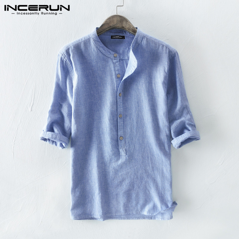 INCERUN Mens Shirt Striped Cotton Breathable 3/4 Sleeve 2020 Stand Collar Harajuku Vintage Brand Shirts Men Chemise Streetwear