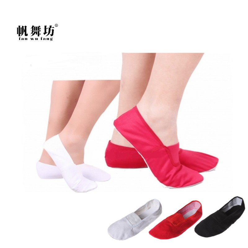 fan wu fang 3 Color Soft Sole Canvas Gym Shoes Gymnastics Shoes Ballet Dance Shoes Women Girls Children According The CM To Buy