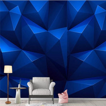 Custom wallpaper 3d three-dimensional blue hexagon Nordic modern geometric TV background wall decoration waterproof material