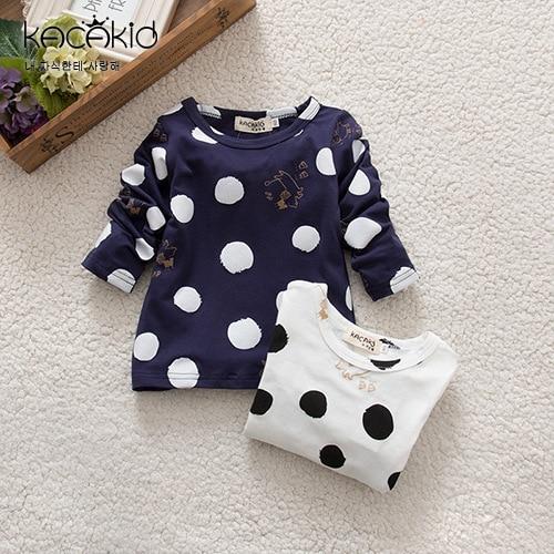 KACAKID Tshirts Store Autumn Boys Children Cute Unisex Spring Dots Official