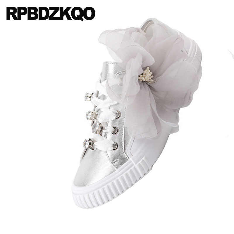 6d97ed566cfa ... Crystal Rhinestone Diamond Trainers Flats Women Genuine Leather Luxury  White Sneakers Designer Shoes China Silver Lace ...