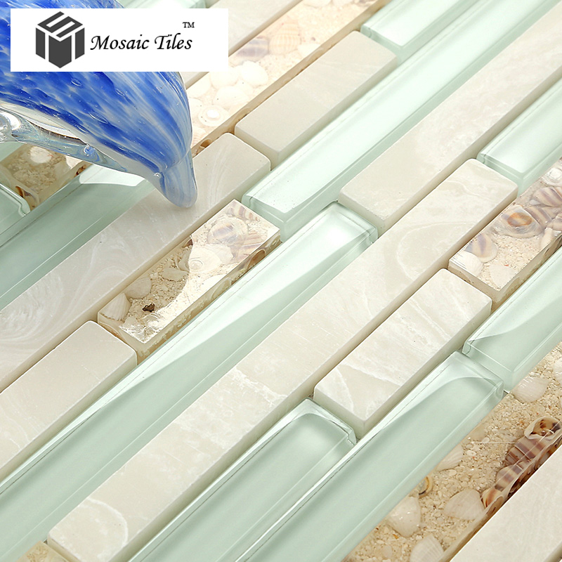 New Beach style mother of pearl tile resin glass tile aqua white stone  TK12