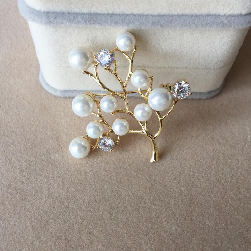 Nouvelle mode branche Imitation perle de luxe strass atmosphérique broche dames cadeau bijoux fleur broche larme broche broches