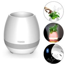 Touch small Night LED Speaker Portable Music Flower Pot Speaker Smart Wireless MP3 Bluetooth Mini Diy Office Home 10W Speakers цена и фото