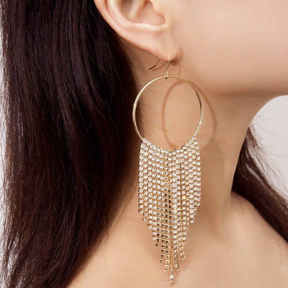 rhinestone tassel earrings fashion jewelry long earing women pendientes flecos in Drop Earrings from Jewelry Accessories