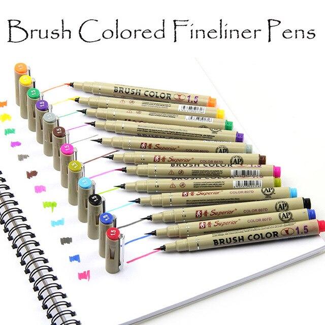 8/12 colores acuarela rotuladores pincel agua para colorear cepillo ...