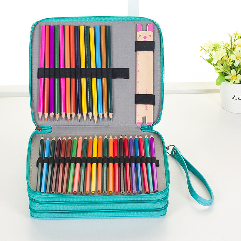 124 Holders 4 Layer Large Capacity Colored Pencil Case Portable PU Leather Watercolor Art Painting Pencils Bag School Stationery