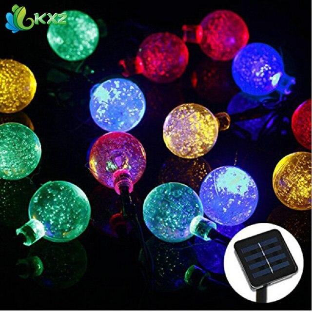 Solar Powered 5 M 20 LEDs de Cristal Globo de la Bola de Luces de Cadena de Hadas Luces de Tira Llevada Al Aire Libre Para Jardín Fiesta de Navidad