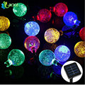 Solar Powered 5M 20LEDs Crystal Ball Globe Fairy Strip Lights Outdoor Led String Lights For Garden Party Christmas