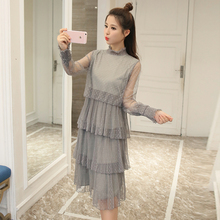 In the spring of 2017 new Korean pleated gauze  cake  in the long frill dress female