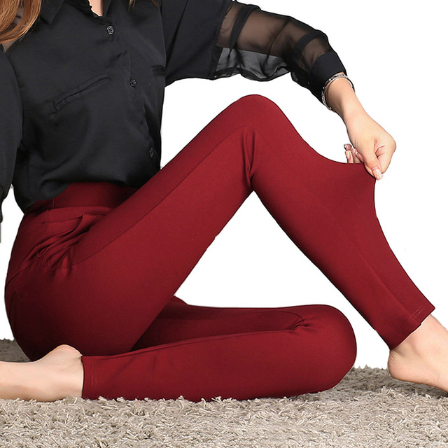 2016 New Autumn Winter Women Casual Stretch Leggings Pencil Pants Skinny Leggings Women's Clothing Trousers Plus Size A661