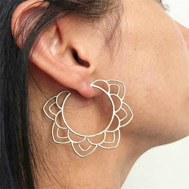 Elegant Vintage Lotus Earrings Earring Gold Silver Hollow Out Statement Bijoux