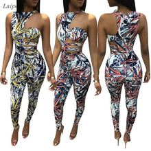 Women Summer Irregular Rompers Cutout Halter One Shoulder Jumpsuits Sexy Bodycon Party Club Outfits Laipelar