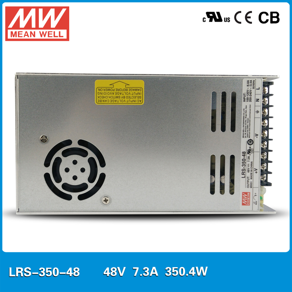 Original MEAN WELL LRS-350-48 Single Output 350W 7.3A 48V meanwell Power Supply UL CB CE 30mm thickness 110VAC or 230VAC original mean well lrs 350 15 350w 15v 23 2a output meanwell switch mode led power supply